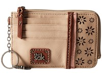 The Sak Iris Card Wallet Taupe Floral Perf Wallet Handbags