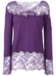 Ermanno Scervino Lace Insert Knitted Top Pink Purple