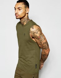 Criminal Damage Sleeveless T Shirt Khaki Green