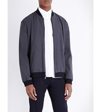 Vince Worsted Reversible Stretch Wool Jacket Blue