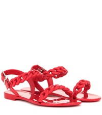 Givenchy Jelly Flat Sandals Red