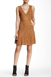 Romeo And Juliet Couture Faux Suede V Neck Dress Brown