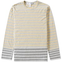 Comme Des Garcons Shirt Boy Long Sleeve Stripe Insert Tee Yellow