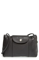 Longchamp 'Le Pliage Cuir' Crossbody Bag Black
