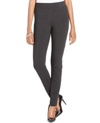 Style And Co. Petite Stretch Seam Front Ponte Leggings Only At Macy's Deep Heather Grey
