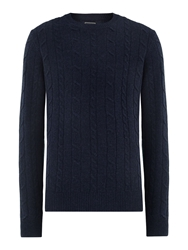 Howick Andover Cable Crew Neck Navy