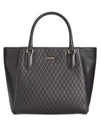 Calvin Klein Quilted Leather Shopper Black Gold