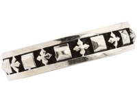 King Baby Studio Stackable Studded Ring With Mb Crosses