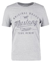 Mustang Tailored Fit Print Tshirt Mottled Grey