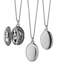 18K White Gold And Diamond Oval Locket Necklace Monica Rich Kosann