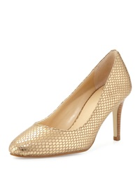 Cole Haan Lena Metallic Snake Embossed Pump Gold