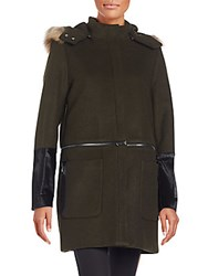 Zac Posen Parker Fur Trimmed Convertible Wool Blend Coat Galactic Green