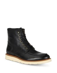 Andrew Marc New York Ashford Leather Mid Boots Black Cream