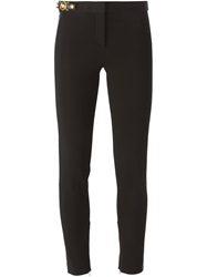 Versace Leather Panel Trousers Black