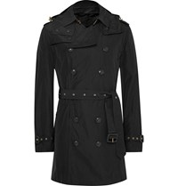 Burberry London Hooded Waterproof Shell Trench Coat Black