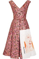 Prada Silk Faille Paneled Metallic Jacquard Midi Dress Pink
