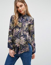 Warehouse Printed Tie Neck Blouse Multi