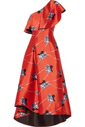 Noir Sachin And Babi Leith One Shoulder Floral Print Satin Twill Gown Bright Orange