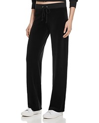 Juicy Couture Black Label Original Flare Velour Pants In Aubergine 100 Bloomingdale's Exclusive Pitch Black