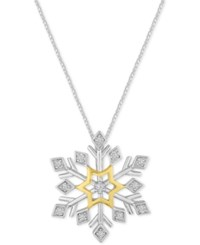 Macy's Diamond Snowflake Pendant Necklace 1 10 Ct. T.W. In Sterling Silver And 14K Gold Two Tone