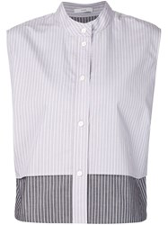 Tome Sleeveless Pinstripe Shirt Blue