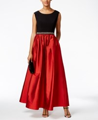Alex Evenings Colorblocked Beaded Gown Black Red