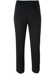 Issey Miyake Cauliflower Pleated Tapered Cropped Trousers Black