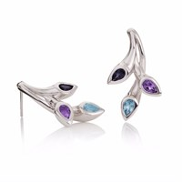 Manja Kazo Blue Topaz Iolite And Amethyst Earrings Blue Pink Purple