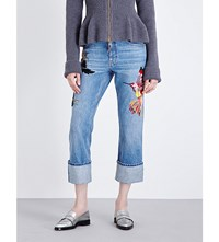 Alexander Mcqueen Embroidered Straight Cropped High Rise Jeans Light Indigo