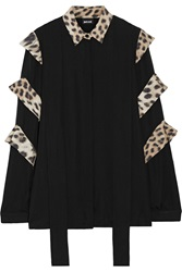 Just Cavalli Leopard Print Trimmed Silk Top Black