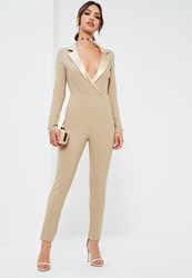 Missguided Nude Satin Lapel Long Sleeve Tux Jumpsuit Taupe