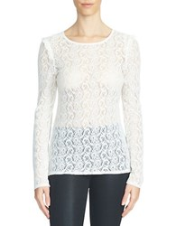 1.State Long Sleeve Lace Top White