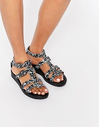 Pieces Piesces Pselsbeth Leather Flat Sandal Black White