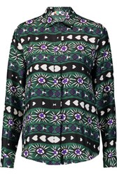 Msgm Printed Silk Blouse Emerald