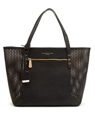 Kenneth Cole Dover Street Leather Perforated Tote Black Gold