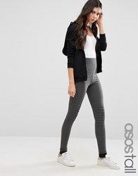 Asos Tall Skinny Trouser With Biker Knee Charcoal Grey