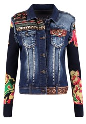 Desigual Denim Jacket Denim Dark Blue Multicoloured