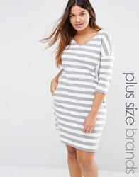 Junarose Long Sleeve Relaxed Stripe Shift Dress Multi