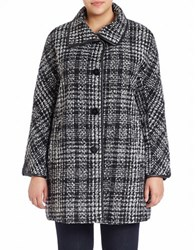 Ellen Tracy Plus Faux Leather Trimmed Plaid Kimono Coat Black White