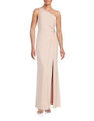 Adrianna Papell One Shoulder Ruched Gown Icy Pink