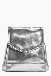 Boohoo Structured Metallic Backpack Silver