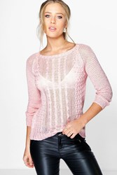 Boohoo Cable Knit Loose Stitch Jumper Rose
