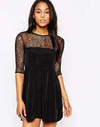Oh My Love Smock Dress With Lace Insert Black