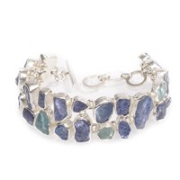 Poppy Jewellery Tanzanite And Aquamarine Gemstone Chunky Sterling Silver Bracelet Blue
