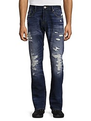Cult Of Individuality Rebel Distressed Straight Leg Jeans Blue