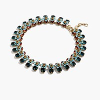 J.Crew Stacked Floral Crystal Necklace Larkspur Blue