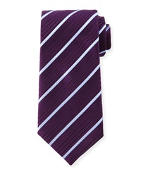 Charvet Striped Silk Tie Purple Blue