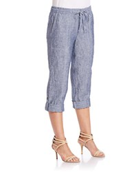 Lord And Taylor Rolled Chambray Capri Pants Dark Evening Blue