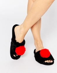 Asos No You Didn't Pom Slippers Black