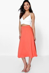 Boohoo Plain Full Circle Midi Skirt Orange